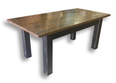 Pine Springwater Woodcraft Harvest Table with dark coloured legs and a classic clearcoat stain on top