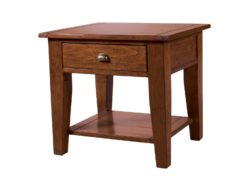 LH Import reclaimed wood Irish Coast African Dusk End Table by PGT, rich hand finish with 1 drawer and metallic features