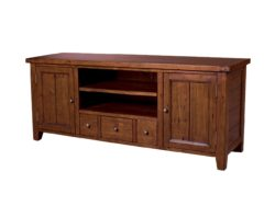 LH Import reclaimed wood Irish Coast African Dusk Media Unit by PGT, 2 centred shelves, 3 drawers, and 2 end cabinets