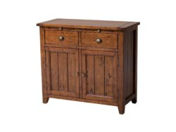 LH Import reclaimed wood Irish Coast African Dusk Server by PGT, rich finish with 2 drawers above the cabinet section