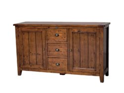 LH Import reclaimed wood Irish Coast African Dusk Sideboard by PGT, rich finish with 3 centre drawers with metallic features