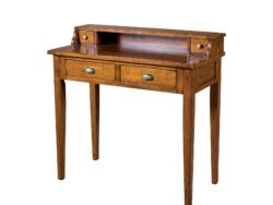 LH Import reclaimed wood Irish Coast African Dusk Writing Table by PGT, rich finish with 2 drawers