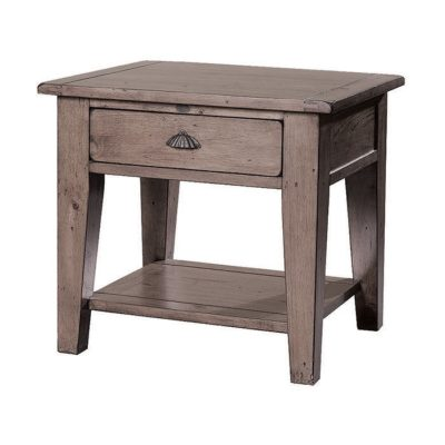LH Import reclaimed wood Irish Coast Sundried End Table by PGT, rich hand finish with 1 drawer and a metallic handle