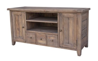 LH Import reclaimed wood Irish Coast Sundried Media Unit by PGT, 2 centred shelves, 3 drawers, and 2 end cabinets