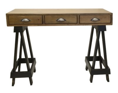 Pine Springwater Woodcraft Saw Horse Table with vintage black legs and 3 rustic wood drawers