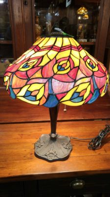 Tiffany Table Lamp with a stained glass shade and metal stand