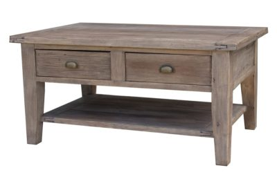 LH Import reclaimed wood Irish Coast Sundried Coffee Table by PGT with 2 drawers with metallic handles