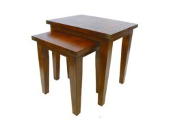 LH Import reclaimed wood Irish Coast African Dusk Nest of Tables by PGT, 2 tables with a small table that nests underneath a slightly larger table