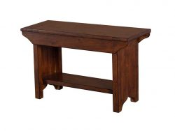 LH Import simple rustic looking reclaimed wood Irish Coast African Dusk Small Bench by PGT, with a rich hand finish