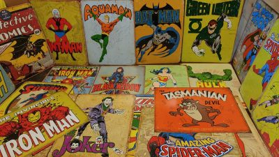 Assorted Vintage Replica Superhero tin signs