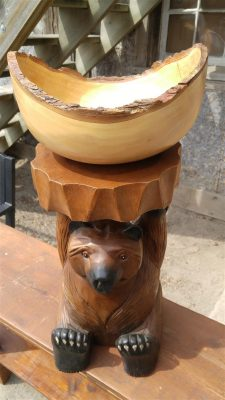 Bear Table with Bark Bowl