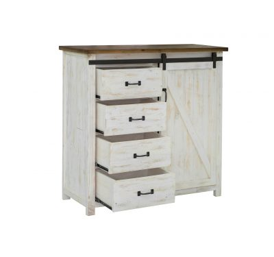 Reclaimed wood Provence 4 Drawer Dresser by LH Imports with sliding door, antique white finished base and black metallic features