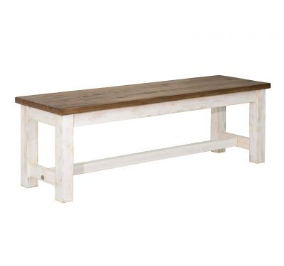 Reclaimed wood Provence Bench by LH Imports, antique white finished base and base with a rustic natural finished top