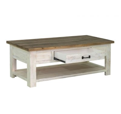 Rustic reclaimed wood Provence Coffee Table by LH Import with a centred drawer