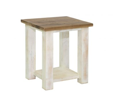 Rustic reclaimed wood Provence End Table by LH Imports antique white finished base with a rustic natural finished top