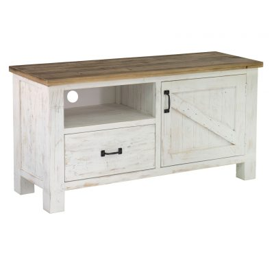 Reclaimed wood Provence Media Unit by LH Imports, antique white finished base and black metallic features