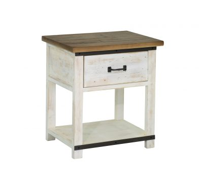 Reclaimed wood Provence Night Stand by LH Imports with 1 drawer, antique white finished base with stained wood top