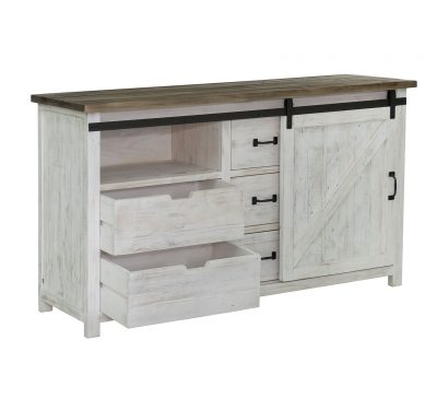White reclaimed wood Provence 1 Door Dresser by LH Imports with 3 large drawers, rustic natural finished top and black metallic features