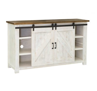 Reclaimed wood Provence Sideboard by LH Imports, antique white finished base and black metallic features