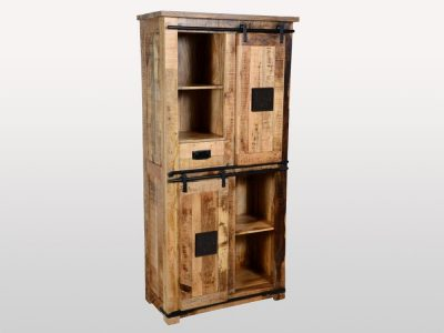 Vintage style Mango Wood Medium Armoire with cast iron features and sliding barn doors