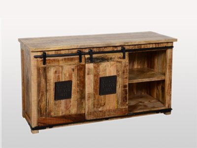 Vintage style Mango Wood Medium Sideboard, 2 cabinets with sliding barn doors