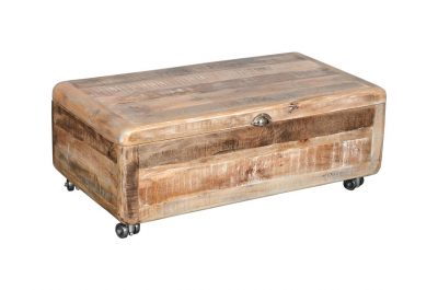 Vintage style Mango Wood Ice Box Medium Coffee Table on wheels and with 1 drawer