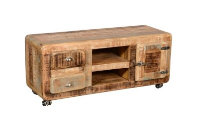 Vintage style Mango Wood Ice Box Media Unit with 2 drawers, 2 shelves and 1 cabinet with metal latches