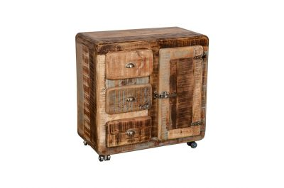 Vintage style Mango Wood Medium Ice Box with 3 drawers and 1 cabinet with metal latch features