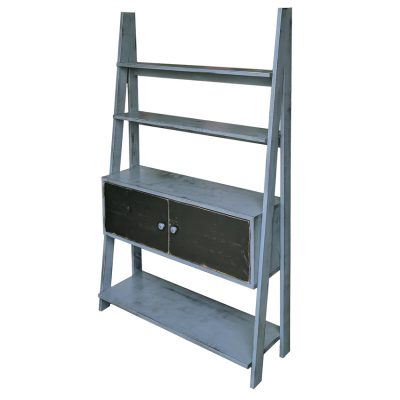 Pine Springwater Woodcraft Ladder Cabinet grey in colour and with 3 large shelves and 1 large centred cabinet