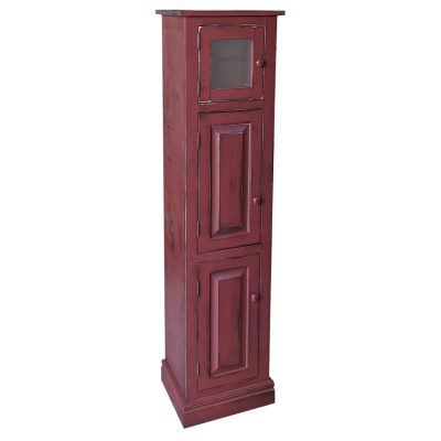 Pine Springwater Woodcraft Meredith Cabinet, burgundy in colour with 3 cabinets