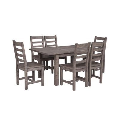 LH Imports reclaimed pine Fergus Sundried Dining Set with 6 Slat Back Chairs and Sundried table