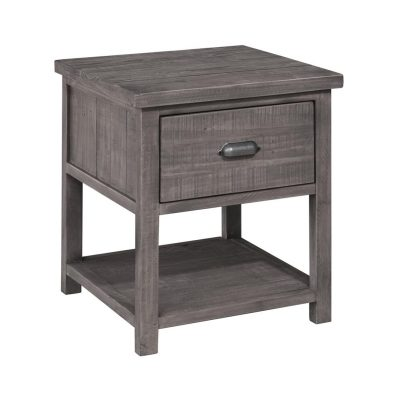 LH Imports reclaimed pin Fergus Sundried End Table with 1 drawer and a metal handle