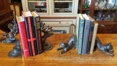 Cast Iron Bookends, one set shaped as an elk head, and the other cats