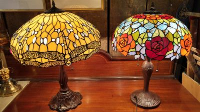 2 Large Stained Glass Lamps, metal bases with stained glass shades