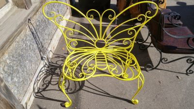 Yellow Metal Butterfly Bench