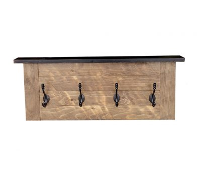 Reclaimed wood Cottage Coat Hook with cast iron hooks and a wood top shelf