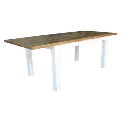 Reclaimed wood Provence Dining Table by LH Imports, antique white finished base and base with a rustic natural finished top