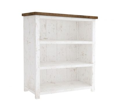 Reclaimed wood Provence Small Bookcase by LH Imports, antique white finished base with 3 shelves and a rustic natural finished top
