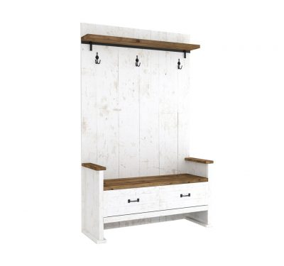 Reclaimed wood Provence Hall Seat by LH Imports, antique white finished base with 1 drawer and 1 shelf with black metallic features.