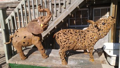 Assorted Large Metal Animals, 1 elephant and 1 pig